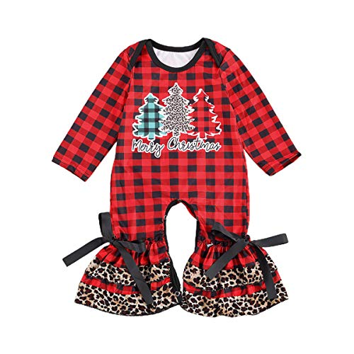 Christmas Newborn Infant Baby Girls Jumpsuit Cute Long Sleeve Ruffle Bell-Bottom Romper Bodysuit Pajamas Clothes (12-18 Months, Red Plaid - Christmas Tree)