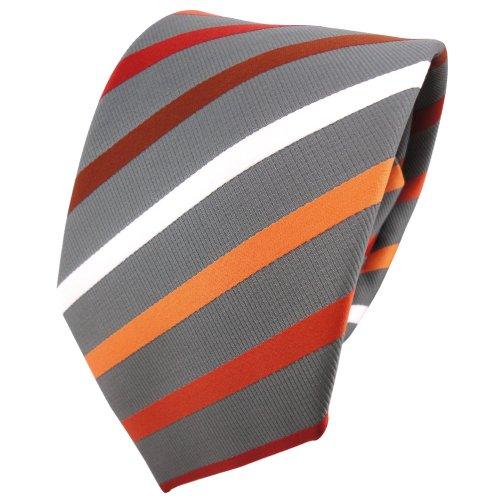 TigerTie - Corbata - naranja rojo-marrón blanco plata gris rayas