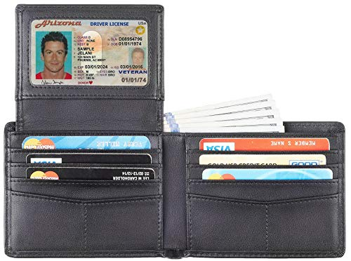 Travelambo Genuine Leather RFID Blocking Wallets Mens Wallet Bifold Classic (2 ID Window Napa Black Updated)