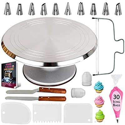RFAQK 50 PCs Aluminum Cake Turntable Rotating Stand- Professional Cake Decorating Tools Kit with Straight & Offset Spatula- 7 Icing Tips and Bags for Decoration -Cake Leveler & EBook for Beginners