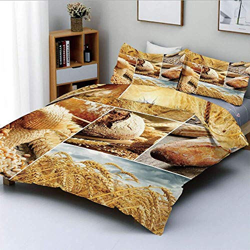 Totun Duvet Cover Set,Various Stages of Bread Making From Wheat to Final Product Collage Pattern DecorativeDecorative 3 Piece Bedding Set with 2 Pillow Sham,Earth Yellow Brown,Best G Easy Care Ant
