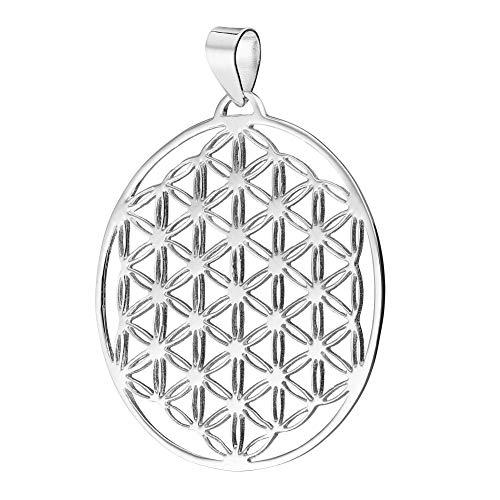 schmuxxi Blume des Lebens Anhänger Silber 925 Filigran Klassisch Flach 34mm Kettenanhänger für Damen