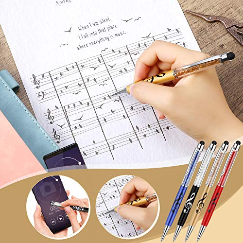 Bling Crystal Stylus Pen Diamond Capacitive Stylus and Black Ink Writing Pen 2 In 1 Retractable Touch Screen Pens Music Note Ballpoint Pen for Touch Screens Device (4 Pieces) Photo #6