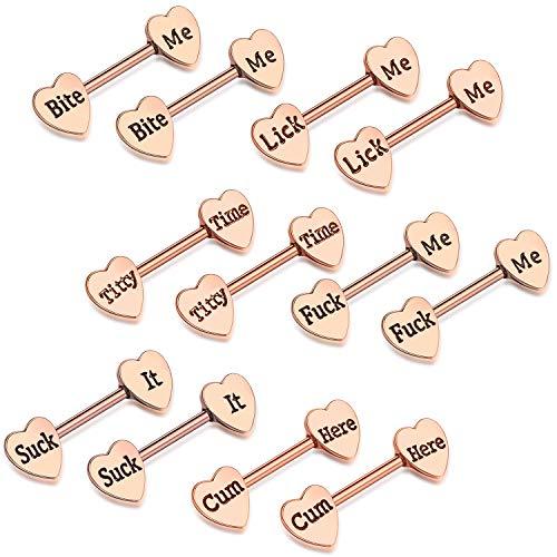 6 Pairs Heart Shaped Nipple Tongue Rings 14G Stainless Steel Nipple Barbell Rings Body Piercing...