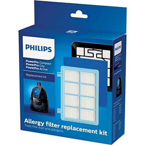 Philips FC8010/02 Original Ersatzfilterset (für PowerPro Compact und Active Bodenstaubsauger) blau/weiß