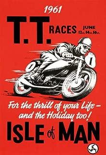 FB 61043 Vintage 1960's Isle of Man TT Motorbike Racing Decor Wall 16x12 Framed Canvas Print