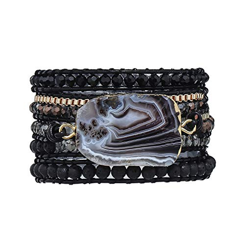 PLTGOOD Boho Handmade 5 Wrap Bead Bracelets for Women Girls Variety Natural Creative Crystal Lava Stone Mixed Beaded Strand Bracelet with Phnom Penh Brazilian Agate Collection