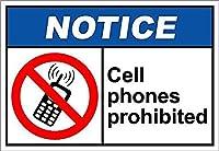 携帯電話禁止通知 金属板ブリキ看板警告サイン注意サイン表示パネル情報サイン金属安全サイン