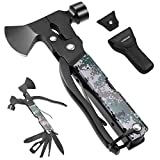 Camping Accessories Multitool Camping Gear Unique Gifts for Men Dad 16 in 1 Survival Gear and Equipment Camping Tools and Gadgets for Men Outdoor Hunting Hiking Supplies Mini Axe Hammer Mens Gifts
