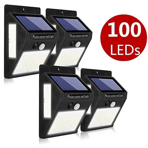 4 Piezas Luz Solar de Exterior, AIMENGTE Lámpara Solar de 270º Gran Angular de Iluminación con 120° Sensor de Movimiento, Focos Solares Impermeable para Patio Jardín balcón