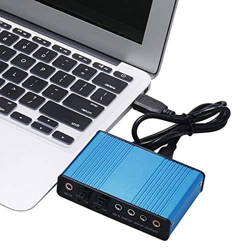 Greatangle Tarjeta de Sonido Externa de 6 Canales 5.1/7.1 Sonido Envolvente USB 2.0 Adaptador de Tarjeta de Sonido de Audio S/PDIF óptico Externo para PC portátil Azul