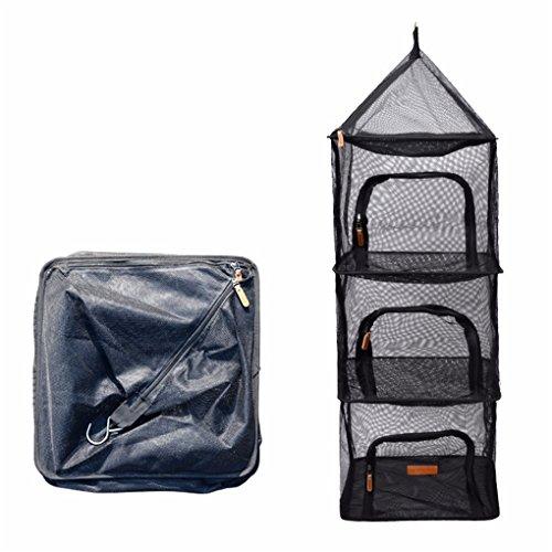 CFtrum 4-Schicht Faltbare Hanging Trocknen Net Mesh Camping Organizer Mesh Trockner Lagerung mit Reißverschlüssen für Picknick zu Hause Camping, Lebensmittel, Gemüse, Obst, Kleidung