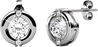 Zara Radiant Rose Gold Stud Earrings, 18k White Gold Plated Stud with Solitaire Round Cut Swarovski Crystal, Stud Earrings for Women, Ear Studs - Hypoallergenic
