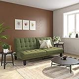 DHP Dexter Futon & Lounger, Convertible Sofa Bed & Couch, Light Green Futon,