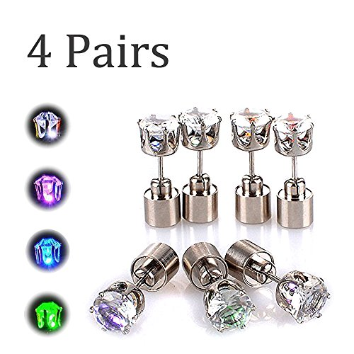 AYAMAYA 4 Pairs LED Light Up Earrings, LED Earring Studs Party Flashing Blinking Stainless Steel Valentines Day Decoration Gifts for Women Men Boyfriend Wife Girlfriend Husband Green+Blue+Purple+White