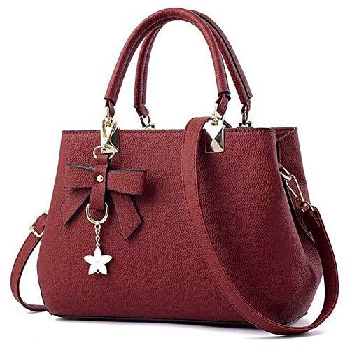URAQT Damen Handtaschen Schulterbeutel, Frauen Stilvolle PU Designer Schultertasche Taschen Umhängetasche (Rot)