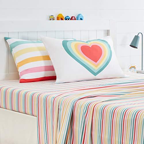 Amazon Basics Kids Soft, Easy-Wash Microfiber Pillow Cases - Standard Set, Heart