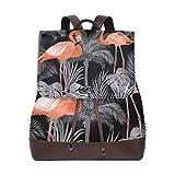 MIGAGA Patrón Sin Fisuras con Flamingo Tropical Hojas Palma,Mochila de Cuero de...