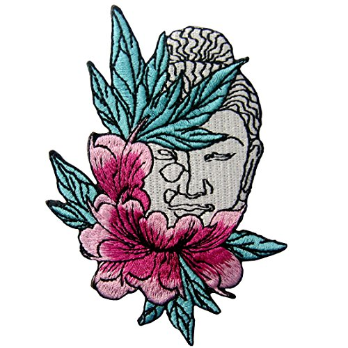 Buddha and Lotus Flower Applique Embroidered Badge Iron On Sew On Patch