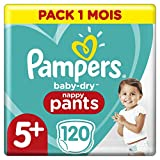 Couches Culottes Pampers Taille 5+ (12-17 kg) - Baby Dry Nappy Pants, 120 culottes, Pack 1 Mois