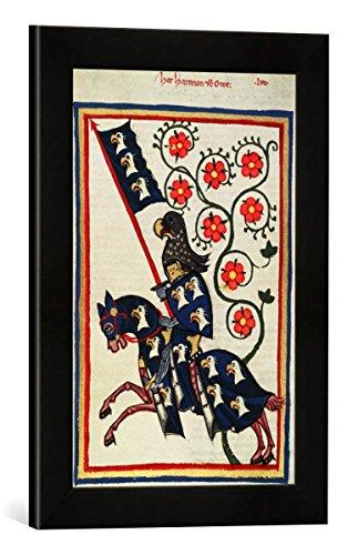 Gerahmtes Bild von Zürich Buchmalerei Codex Manesse, Hartmann von AUE, Kunstdruck im hochwertigen handgefertigten Bilder-Rahmen, 30x40 cm, Schwarz matt