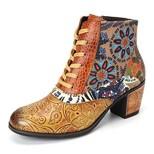 Camfosy Leren laarzen voor dames, met hak, warme bont, gevoerd, kleurrijk drukdesign, splitten, korte laarzen, Chunky Zipper laarzen, 2019, winter sneeuwschoenen, retro elegante party schoenen