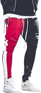 JJHAEVDY Men Hip Hop Slim Fit Track Pants Athletic Jogger Bottom Gym Workout Elastic Waist Sweatpants with Zipper Pocket
