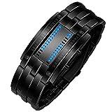 iHee Armband, bequem zu tragen, Luxus-Edelstahlband für Herren, digitales LED-Armband, Sportuhr, modisch, leicht zu verwenden, sehr cool (Schwarz)