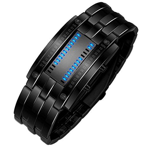 iHee Armband, bequem zu tragen, Luxus-Edelstahlband für Herren, digitales LED-Armband, Sportuhr, modisch, leicht zu verwenden, sehr cool M schwarz