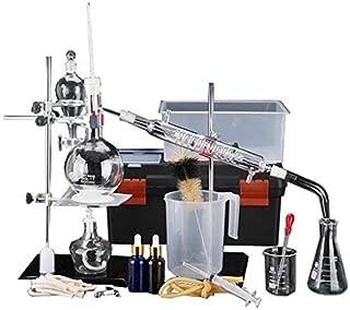 New 500ml 44pcs Lab Essential Oil Distillation Apparatus Water Purifier Distiller Glassware Kits w/Tool Case Condenser Pipe
