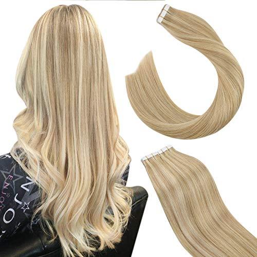 Ugeat Extention Adhesif Cheveux Naturelles #27/613 Blonde Caramel Mixte Blonde Blanchie Ruban Adhesif Extension Cheveux 50G/20PCS Bande Adhesive Extension Cheveux Naturel 14 Pouces