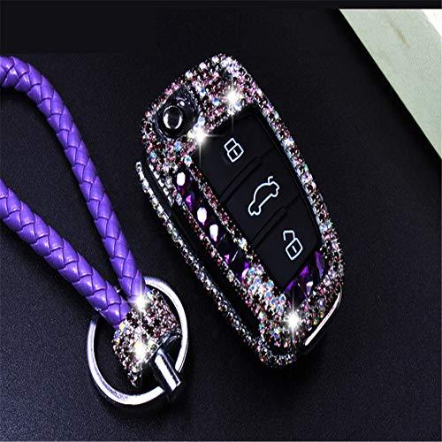 XUWLM Schlüsselanhänger Diamant Bling Autoschlüssel Fall Abdeckung/Schlüssel Shell Halter Für Audi A1 A3 Q3 S3 S5 S6 R8 TT Q7 Q5 A6 A4 Zubehör, A-lila