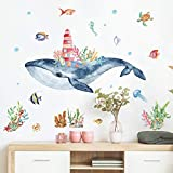 Whale Castle Marine Animals Wall Decals, ULENDIS Cartoon Starfish Jellyfish Hippocampus Wall Stickers Peel and Stick, Seaweed Wall Decor Art Murals for Kids Nursery Living Room TV Background Sofa