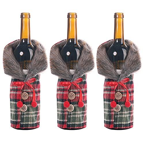 FunPa 3 piezas de Navidad cubierta de botella lindo collar botón botella suéter decorativo Navidad vacaciones protector botella botella de vino bolsa
