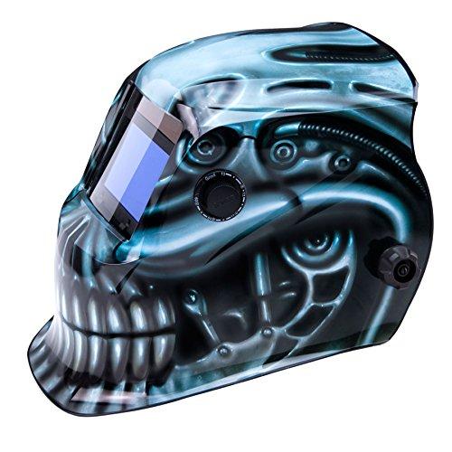 True-Fusion BioMech IQ1100 Solarbetriebene Automatisch verdunkelnd Schweißhelm / Maske mit Schleif-Funktion + GRATIS Helmtasche, Ersatzlinse und Schweißband