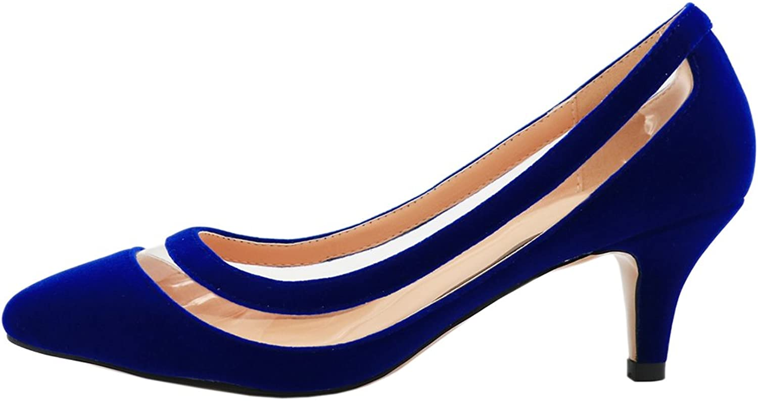 VOCOSI AP-003 Casual Women's Transparent Low Heel shoes Pointy Toe Daily Dress Pumps