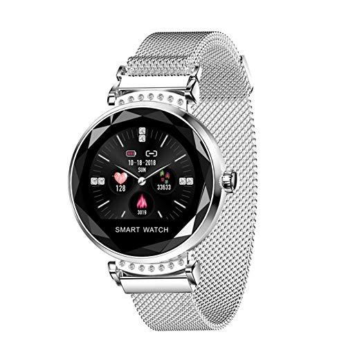 YNLRY Reloj inteligente H2 para mujer de moda, frecuencia cardíaca, presión arterial, monitor de sueño, impermeable, cristal 3D, reloj inteligente para señora (color: plata)