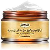 Vitamins Masque Multi Revitalisant Intensif d' Huile d' Argan Marocain Soin Cheveux Secs et Abimes Nourrissant Reparateur (Fins à Normaux)