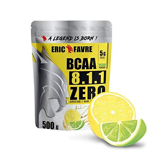 POLVERE BCAA 8.1.1 Zero - Aminoacidi per massa muscolare vegani - Il tuo alleato per allenamenti efficaci - Prestazioni migliorate - 500 g - Laboratorio francese Eric Favre (Limone/Lime)