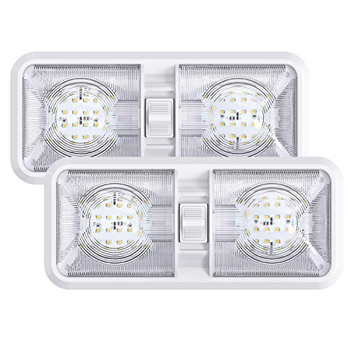 Leisure LED 2 Pack RV LED Ceiling Double Dome Light Fixture with ON/Off Switch Interior Lighting for Car/RV/Trailer/Camper/Boat DC 11-18V Natural White (Natural White 4000-4500K, 2-Pack)