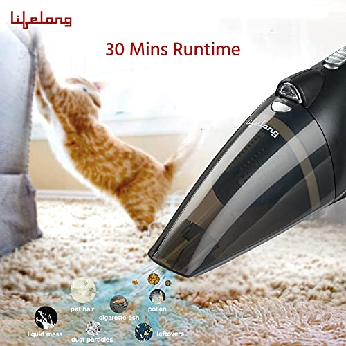Lifelong LLCVC01 Handheld Car Vacuum Cleaner with HEPA Filter for Travel Use, Dust Capacity of 1.5L, Wet and Dry Cleaning,3 Attachments, 5 Meter Cord(1 Year Warranty, Black)