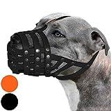BRONZEDOG Pitbull Dog Muzzle Amstaff Waterproof Basket Adjustable Secure Mask for Large Dogs (Black)