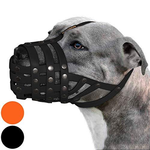 BRONZEDOG Pitbull Hunde-Maulkorb Amstaff wasserdichter Korb verstellbar sichere Maske für große Hunde (schwarz)