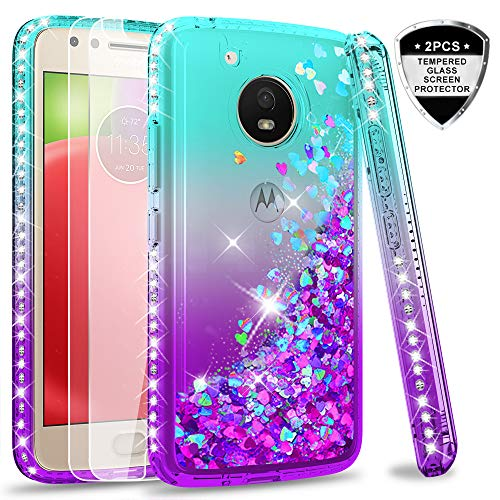 Moto E4 Case (USA Version) (Not Fit E4 Plus) with Tempered Glass Screen Protector [2 Pack] for Girls,LeYi Glitter Diamond Liquid Protective Phone Case for Motorola E (4th Generation) Teal/Purple