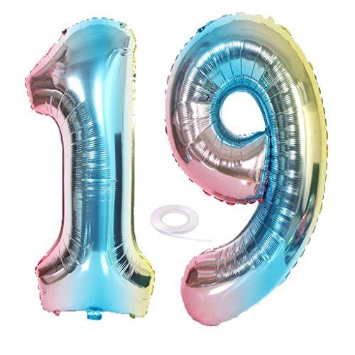SNOWZAN XL Zahlen Ballon Nummer 19.Luftballon Regenbogen Mädchen Junge Luftballons Zahl 19.Geburtstag Deko Blau Rose Bunt Schillernde 19 Jahre FolienBallon 32 zoll Riesen Helium Happy Birthday Party