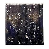 MyDaily Duschvorhang mit Zahlen & Galaxie, 167,6 x 182,9 cm, schimmelresistent und wasserdicht, Polyester Dekoration Badezimmer Vorhang