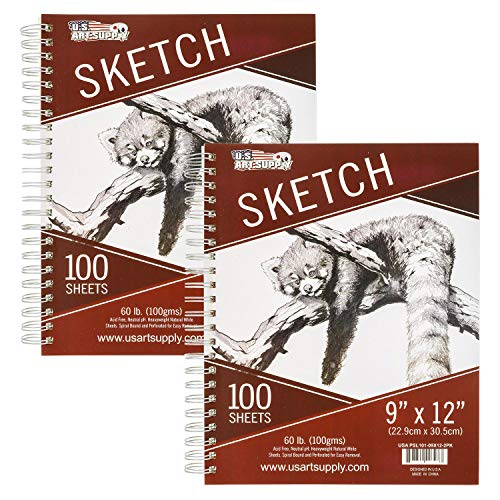 "U.S. Art Supply 9"" x 12"" Side Spiral Bound - 60lb Sketch Drawing Pad (Pack of 2 Pads) - 100 Sheets in Each Sketch Paper Pad"