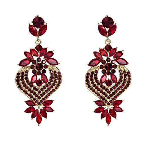 JKUNYU - Pendientes de aleación con colgante de corazón de diamante de múltiples capas, color rojo, 8 x 3,9 cm