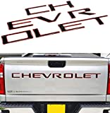 Tailgate Insert Letters Compatible for 2019-2021 Chevrolet Slverado - 3M Adhesive and 3D Raised Tailgate Letters (Black with Red Outline)