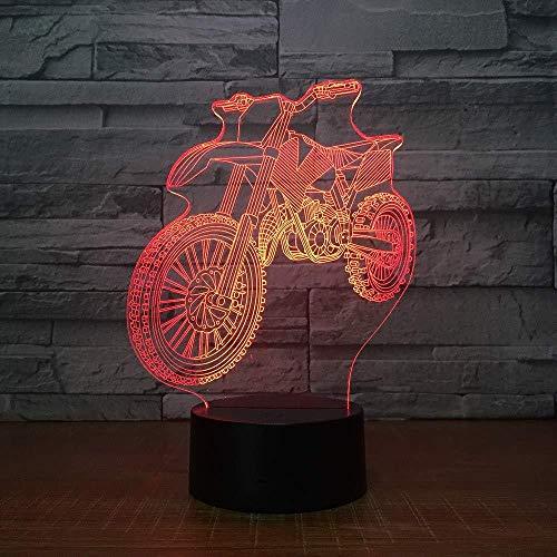 OUUED Luz nocturna Motocross Forma de bicicleta Luces nocturnas Novedad Lámpara de mesa 3D Led Usb 7 colores Cambiar sensor Lámpara de mesa como regalos de cumpleaños para Vaca